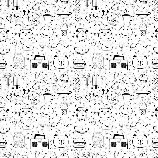 Doodle dos desenhos animados sem costura de fundo para criança. Vetor Premium