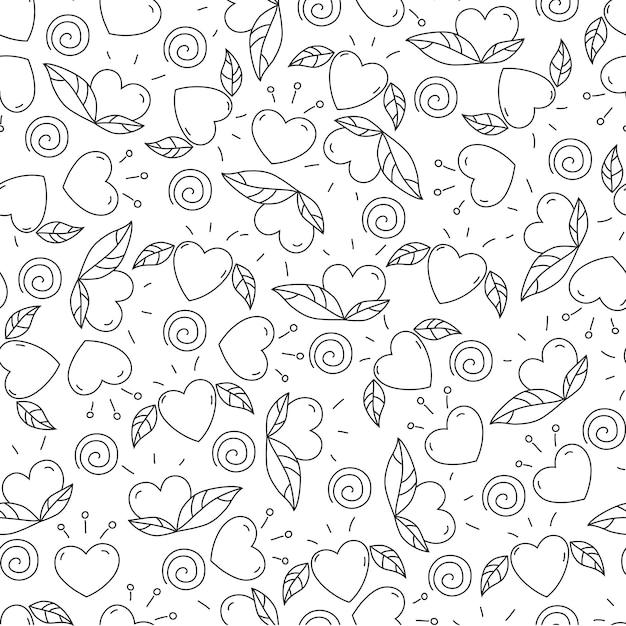 Doodle elementos para dia dos namorados. corações e folhas. padrão sem emenda. design para colorir página. Vetor Premium