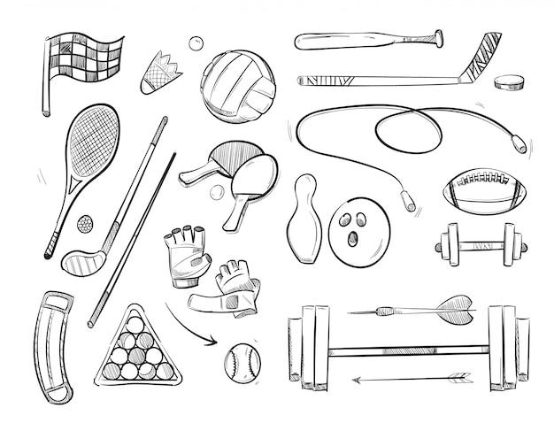 Doodle esboçar esportes e ícones do vetor de fitness Vetor Premium