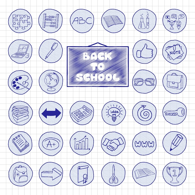 Doodle escola botões Vetor Premium