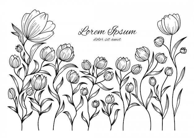 Doodle floral flor padrão e plano de fundo Vetor Premium