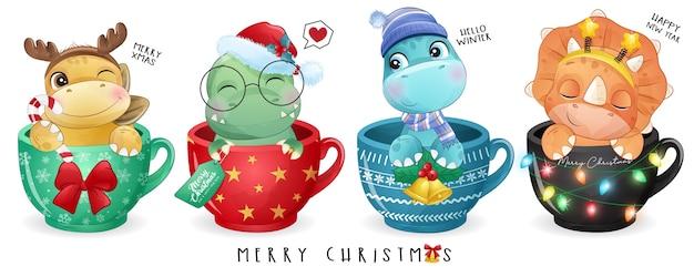 Doodle fofo de dinossauro para o dia de natal com ilustração em aquarela Vetor Premium
