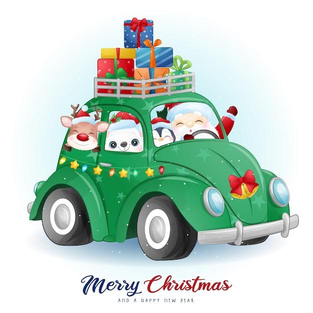 Doodle fofo de papai noel e amigos no dia de natal com ilustração em aquarela Vetor Premium