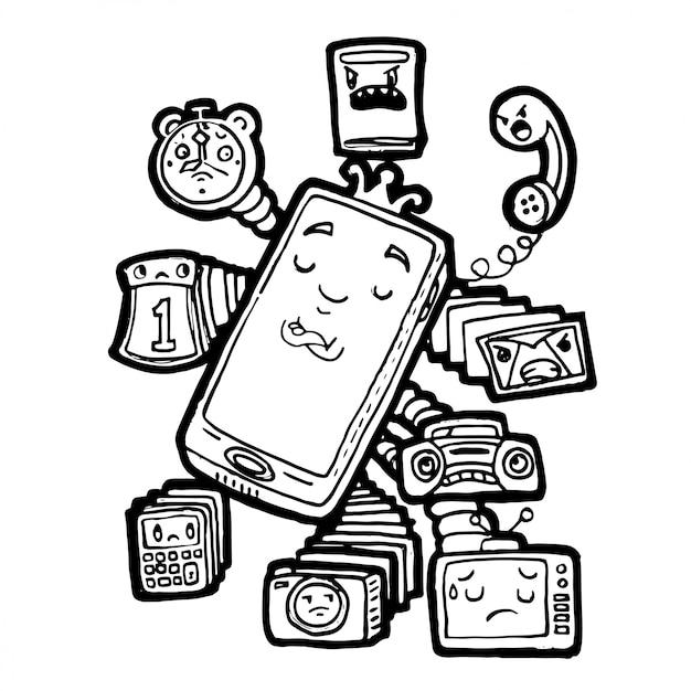 Doodle handphone desenhado mão está no controle de todos os dispositivos de mídia Vetor Premium