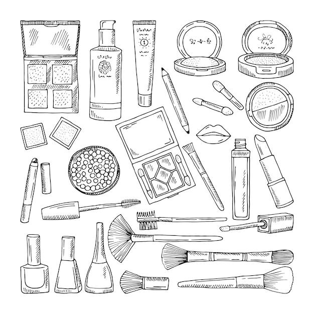 Doodle ilustrações de cosméticos de mulher. maquiagem ferramentas para mulheres bonitas Vetor Premium