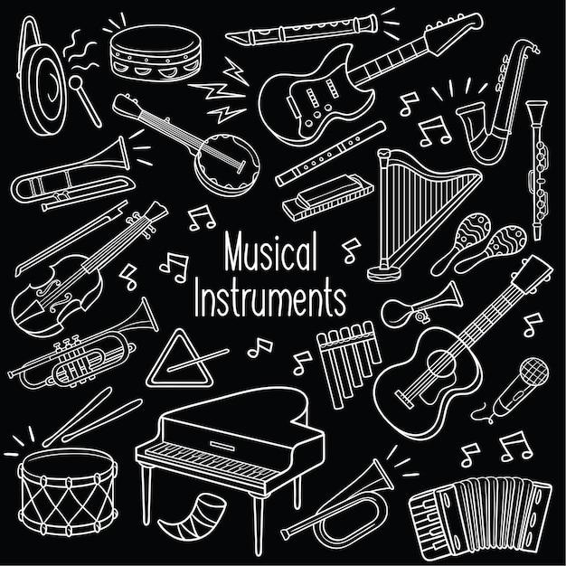 Doodle instrumentos musicais Vetor Premium