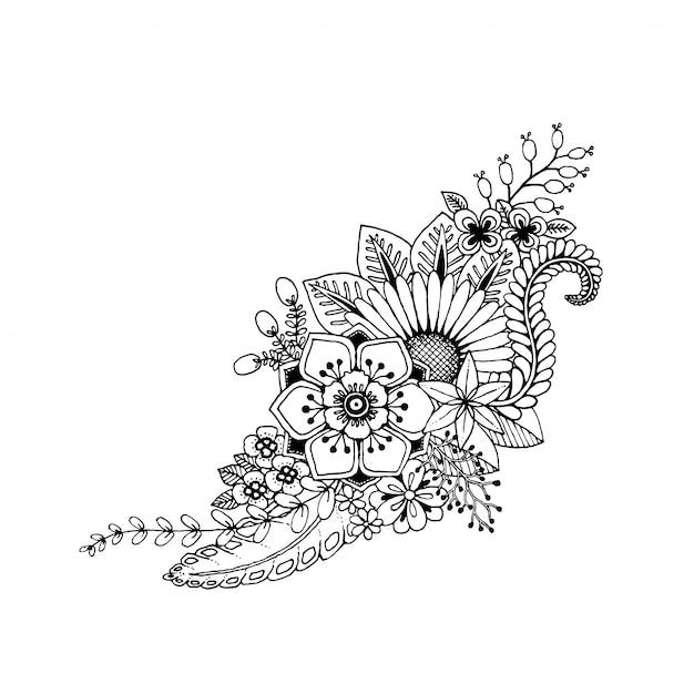 Doodle Mão Desenhar Flores Preto E Branco Para Livro De