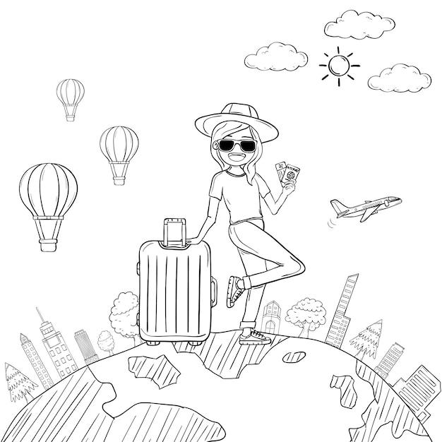 Doodle mão desenhar mulher bonito dos desenhos animados viajante com bagagem Vetor Premium