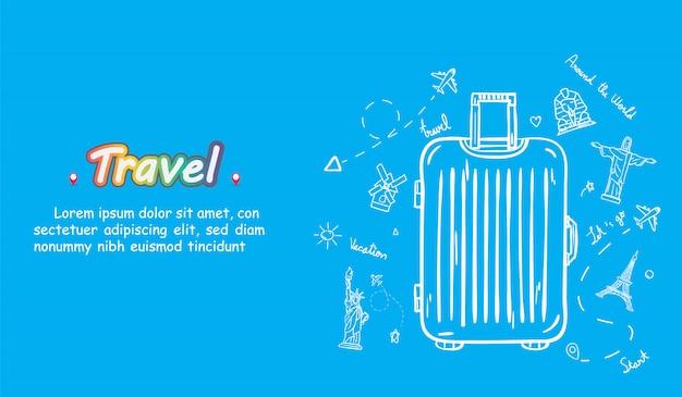 Doodle mão desenhar viajante com bagagem. acessórios de viagem de ponto de verificação de avião em todo o mundo. Vetor Premium