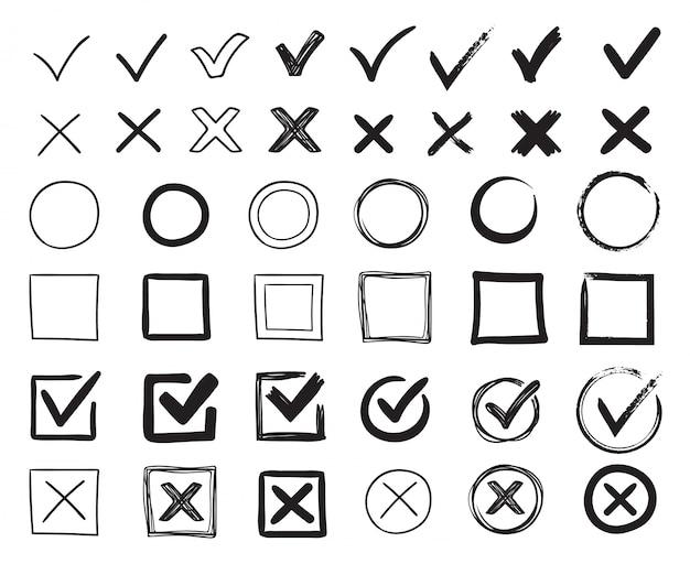 Doodle marcas de seleção. mão desenhada caixa de seleção, marca de exame e marcas de lista de verificação. sinais de verificação esboçar conjunto de ilustração Vetor Premium