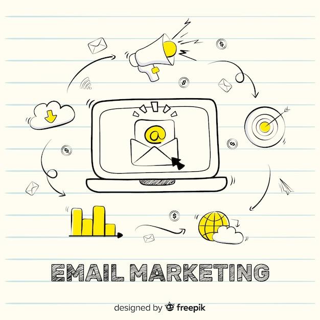 Doodle marketing por e-mail Vetor grátis