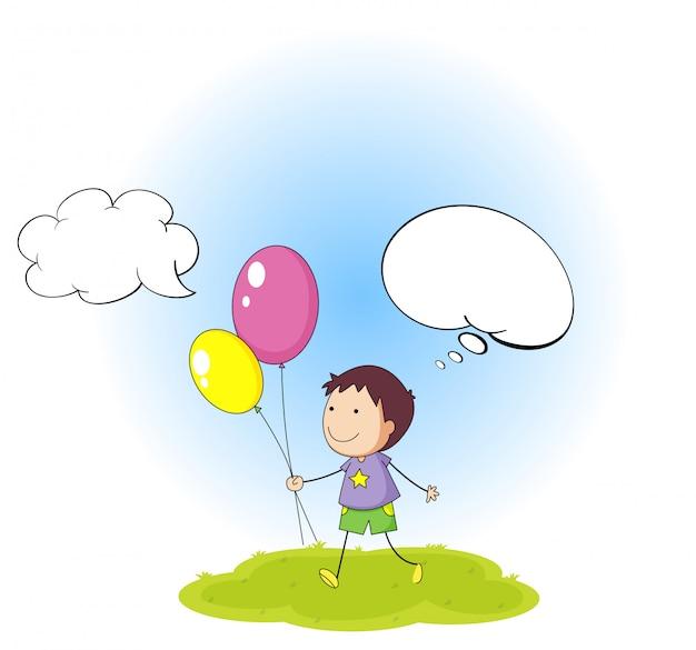 Doodle menino com balão de fala Vetor grátis