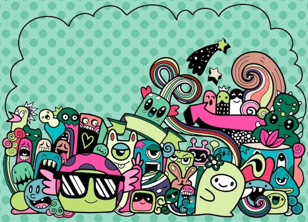 Doodle monstro bonito com fundo copyspace, mão desenhando doodle Vetor Premium
