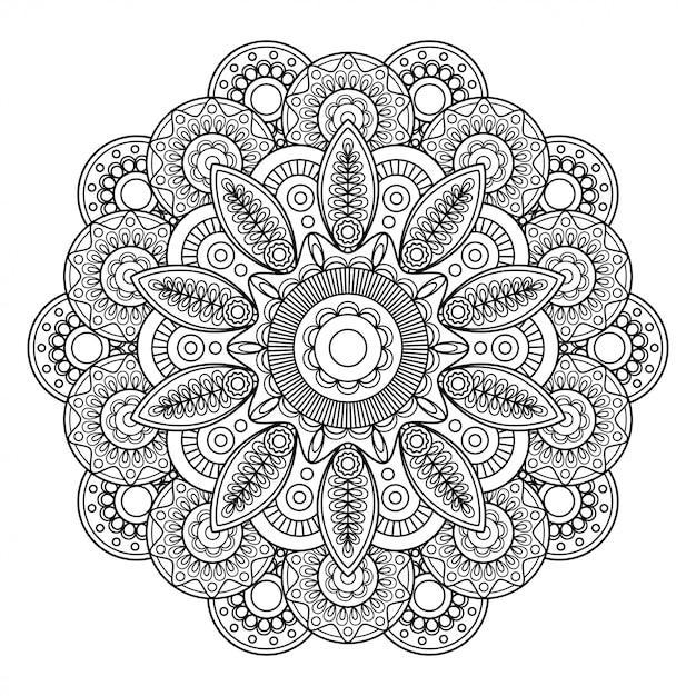 Doodle motivo floral boho Vetor Premium