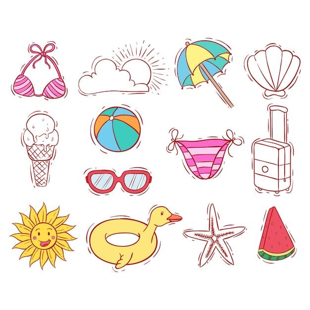 Doodle ou mão desenhada da coleção de elementos de verão Vetor Premium