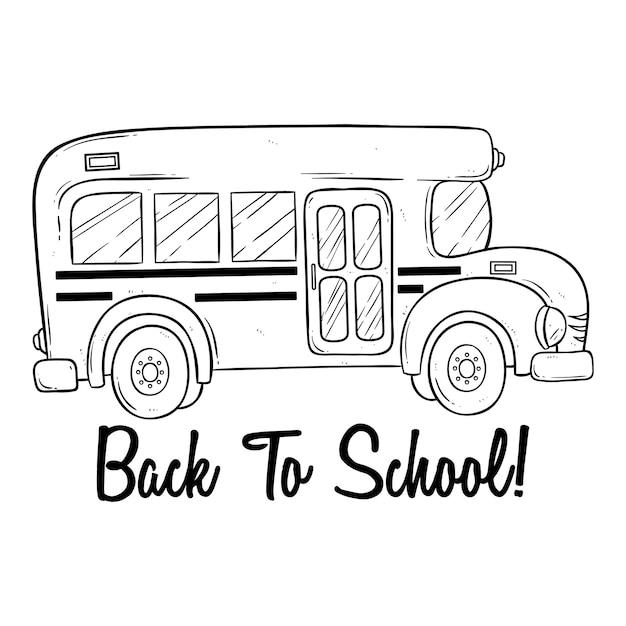 Doodle ou mão desenhada ônibus escolar e volta ao texto da escola Vetor Premium