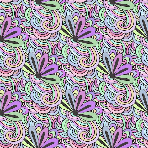 Doodle padrão colorido com flores em vetor. zentangle para colorir Vetor Premium