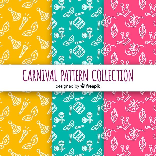 Doodle padrão de carnaval brasileiro Vetor grátis