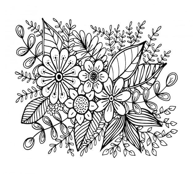 Doodle padrão de flores, desenho de mão Vetor Premium
