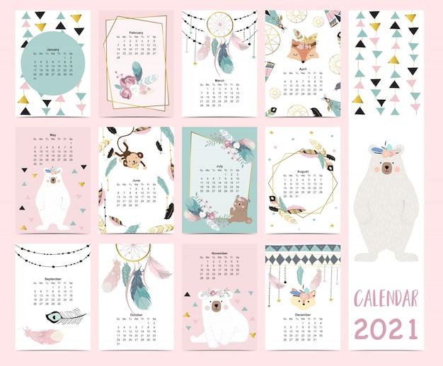 Doodle pastel boho calendário conjunto 2021 com pena, ouro geométrico, urso, apanhador de sonhos para crianças. pode ser usado para gráfico imprimível. elemento editável Vetor Premium