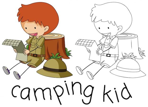 Doodle personagem garoto de acampamento Vetor Premium