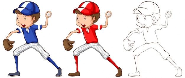 Doodle personagem para baseball player illustration Vetor grátis