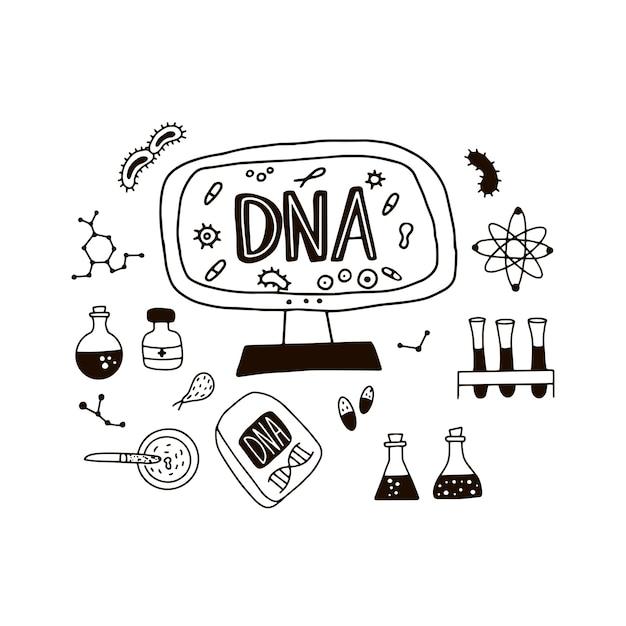 Doodle símbolos do genoma. Vetor Premium