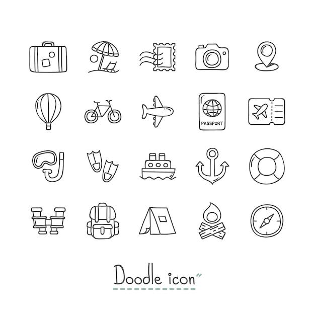 Doodle travel icons. Vetor Premium