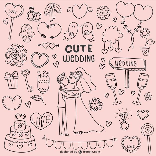 Doodles bonitos do casamento Vetor grátis