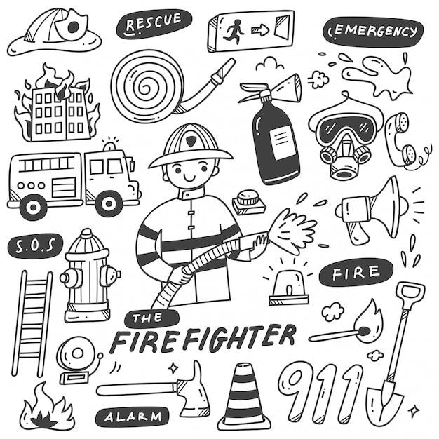 Doodles de bombeiro e equipamentos Vetor Premium