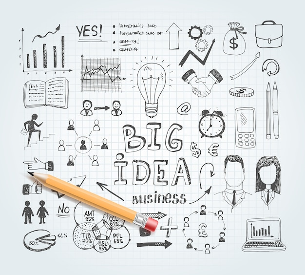 Doodles de ideias de negócios Vetor grátis