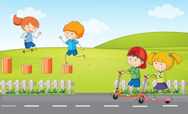 Dooldle crianças no playground Vetor grátis