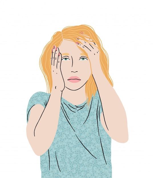 Dor de cabeça da enxaqueca, jovem garota segurando sua cabeça, sentindo-se cansado, desamparado, alta temperatura, auto-isolamento. ilustração. Vetor Premium