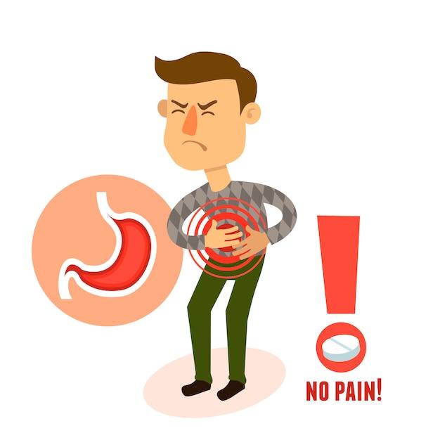 Dor de estômago doentia Vetor grátis
