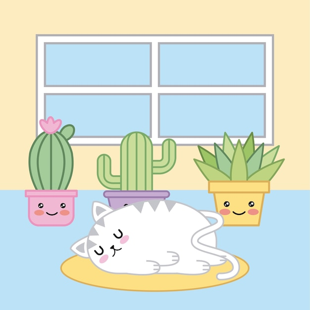 Dormindo Gato Kawaii Desenhos Animados Plantas No Quarto Vetor