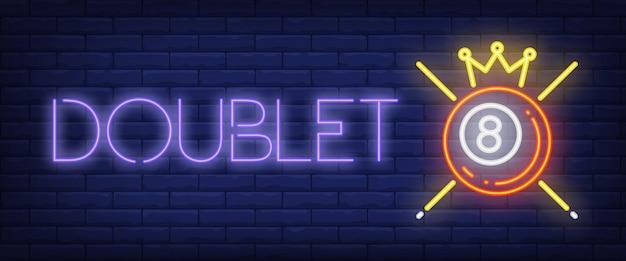 Doublet texto neon com bola, coroa e sugestões Vetor grátis