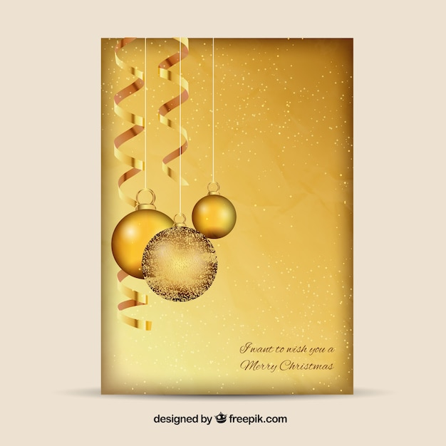 Dourado cart o bolas de natal baixar vetores gr tis - Tarjetas de navidad elegantes ...