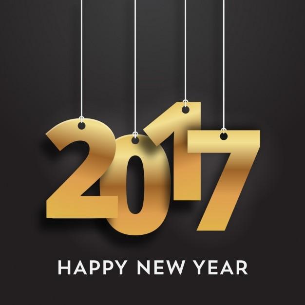 Dourado pendurado números do ano novo Vetor grátis