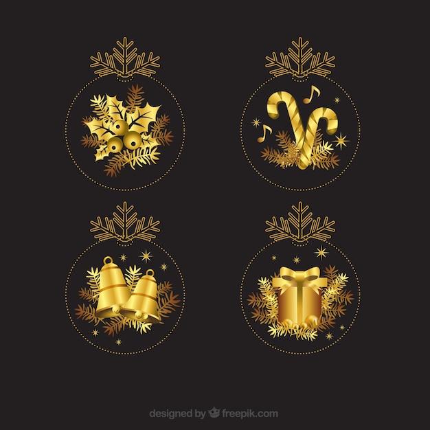 Dourados enfeites de natal Vetor grátis