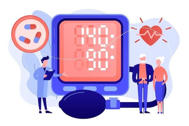 Doutor, casal de idosos com pressão alta do tonômetro, pessoas minúsculas. pressão alta, doença hipertensiva, conceito de controle da pressão arterial. ilustração de vetor isolado de coral rosa Vetor grátis