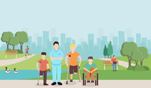 Doutor com as crianças deficientes no parque. Vetor Premium