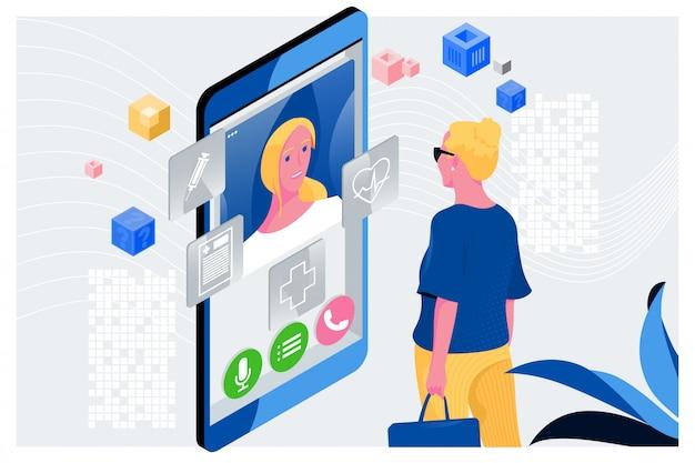 Doutor conceito on-line Vetor Premium