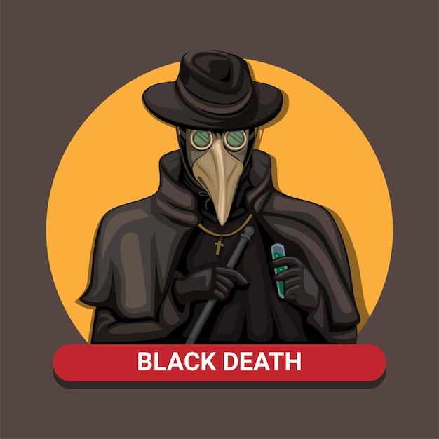 Doutor da peste da peste negra. a equipe médica da pandemia medieval usa máscara de pássaro e símbolo de fantasia na ilustração dos desenhos animados Vetor Premium
