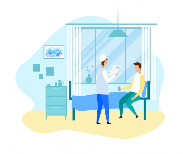 Doutor dos desenhos animados visita paciente do sexo masculino na ala do hospital Vetor Premium