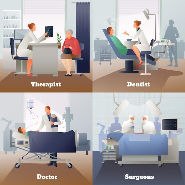 Doutor e paciente composições gradientes Vetor grátis