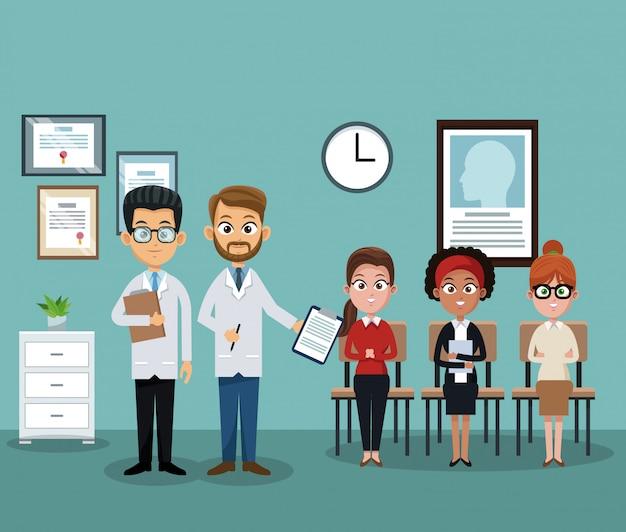 Doutor, em, hospitalar, escritório, com, paciente Vetor Premium