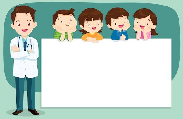 Doutor esperto e crianças bonitos com bandeira Vetor Premium