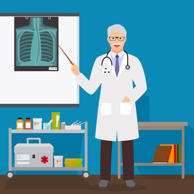 Doutor, homem, com, raio x, levantar Vetor Premium