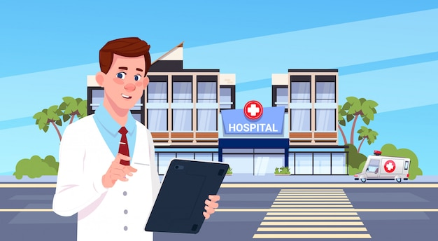 Doutor masculino, ficar, sobre, modernos, hospitalar, exterior edifício Vetor Premium