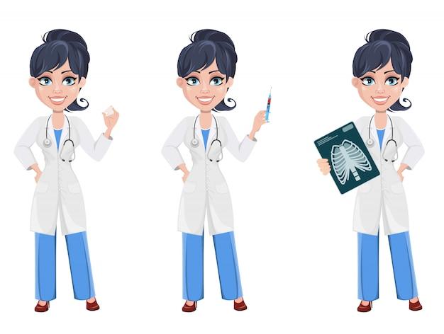 Doutor mulher Vetor Premium